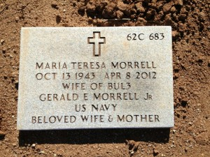 My mother's headstone in the Riverside National Cemetery